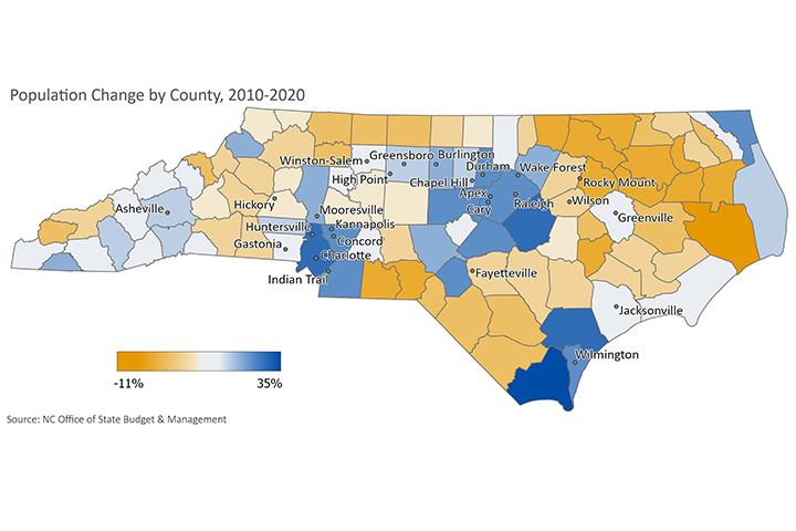 Population Change by County, 2010-2020
