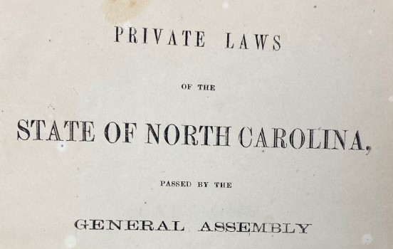 Title page of Private Laws of North Carolina