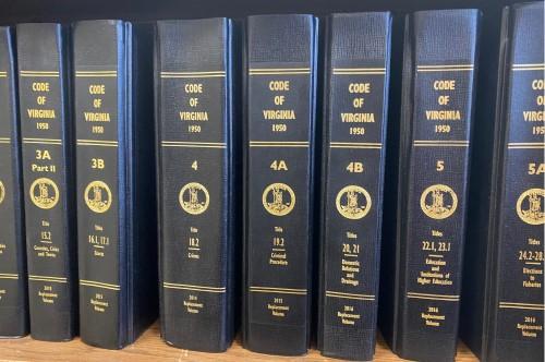 Virginia Code Books on shelf